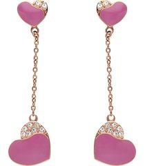 orecchini pendenti in acciaio rosato con cuore pendente fucsia con cristalli per donna