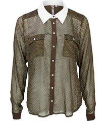 broadway bruine transparante blouse