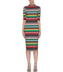 'delora' geometric stripe print three quarter sleeve midi dress