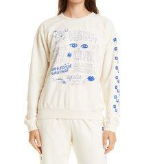 women's clare v. graphic cotton sweatshirt, size medium - white