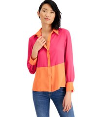 bar iii colorblocked button-front top, created for macy's
