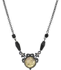 2028 black-tone crystal flower necklace