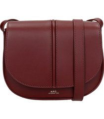 a.p.c. betty shoulder bag in red leather