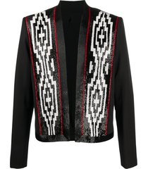 balmain wool blazer with patterned beaded detailing - black