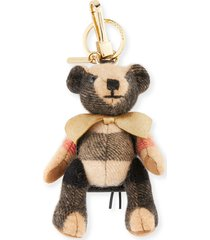 "camel check cashmere ""thomas bear"" keychain rucksack charm with bow for handbag"