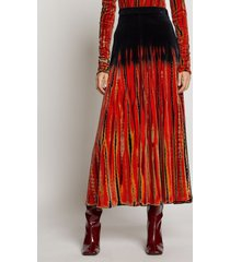 proenza schouler tie dye velvet skirt poppy/fatigue/navy/orange m