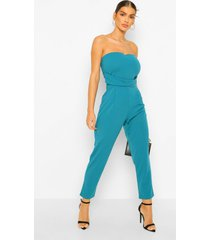 getailleerde geweven strapless slim fit jumpsuit, teal