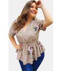 camicetta per donna formato plus scollo a v stampa fiori