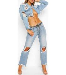 ripped frayed hem vintage wash mom jeans, light blue