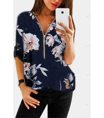 blusa azul marino con estampado floral al azar, diseño de cremallera, cuello en v, manga ajustable, longitud