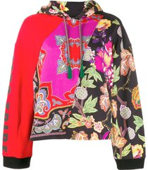 etro patchwork floral hoodie - red