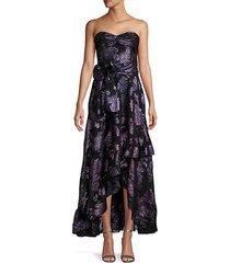 metallic floral high-low silk-blend dress