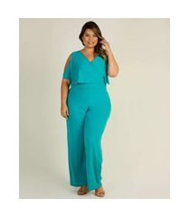 macacão plus size feminino open shoulder manga curta