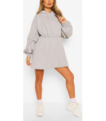 double sleeve hoody dress, grey marl