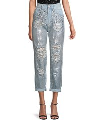 balmain women's embellished high-rise straight jeans - blue silver - size 38 (6)