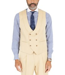 tayion collection men's classic-fit solid tan suit separates double-breasted vest