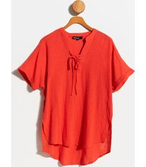 andie lace-up blouse - coral