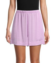 vince women's stretch-waist crinkle shorts - timber - size s