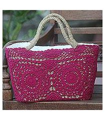 natural fiber and cotton shoulder bag, 'twin magenta mandalas' (indonesia)