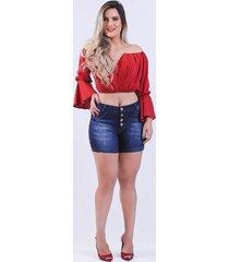 short jeans curto feminino djak meia coxa 2120503 - kanui