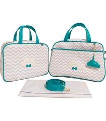 kit bolsa maternidade chevron cinza com verde nuvem alinhado baby - 03 peças