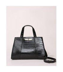 bolsa feminina estruturada grande texturizada croco preta