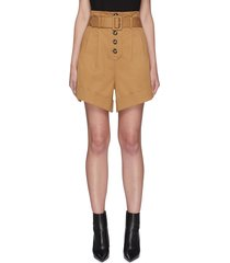 belted canvas turn up shorts