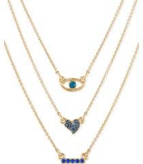 """rachel rachel roy gold-tone blue crystal three-row pendant necklace, 16"""" + 1"""" extender"""