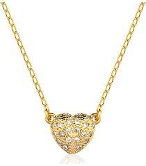 colar toque de joia coração 3d zircônias brancas dourado