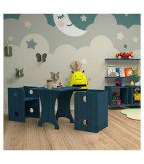 conjunto de mesa quadrada infantil com 2 bancos   banquetas kitcubos azul
