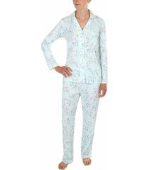 miss elaine floral-print knit pajama set