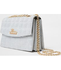 river island womens silver sparkle quilted satchel bag