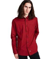 camisa lisa abotonada manga larga burdeo sioux