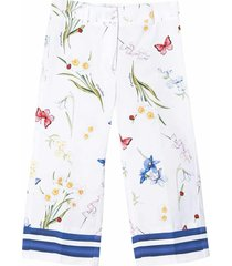 monnalisa multi-print front pleated trousers