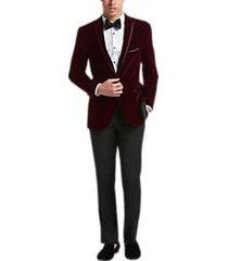 paisley & gray extreme slim fit dinner jacket burgundy velvet