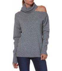 women's paige raundi cutout shoulder sweater, size x-large - grey