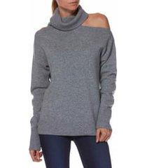 women's paige raundi cutout shoulder sweater, size x-small - grey