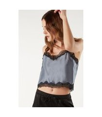 blusa cropped de seda renda - preto g