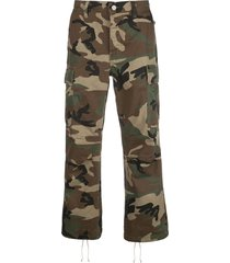 purple brand camouflage print multi-pocket trousers - green