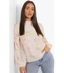 geweven vlinder- en kettingprint blouse, nude