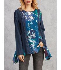 camicetta o-collo manica lunga patchwork irregolare stampa floreale