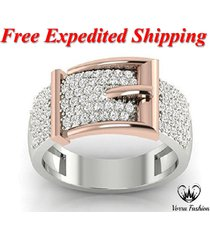 belt buckle band ring round cut sim diamond white gold over 925 sterling silver