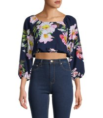 love ady women's floral-print balloon-sleeve top - navy multi - size m