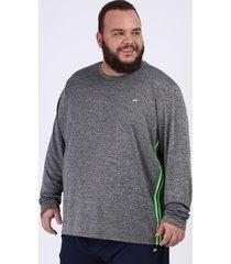 camiseta masculina plus size ace esportes manga longa gola careca cinza mescla escuro