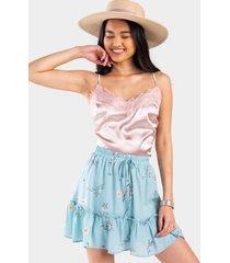 kensie floral drawstring skirt - multi