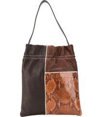 tl-180 le fazzoletto patchwork tote - brown