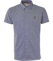 no excess jersey short sleeve shirt indigo blue