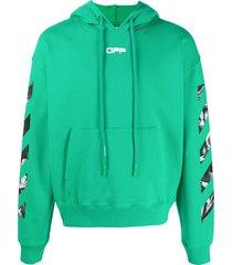 off-white caravaggio square oversize hoodie - green