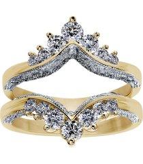 1.26 ct round diamond 14k yellow gold over enhancer wrap wedding ring