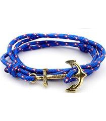 unisex multilayer handmade rope wristband anchor bracelet-blue